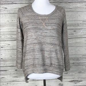 Bobeau Taupe Gray Textured Metallic Sweater Top